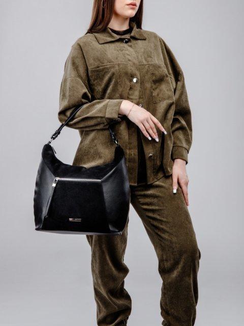 Чёрная сумка мешок S.Lavia. Вид 6.